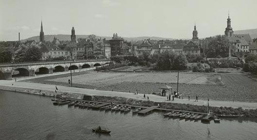 """""""Saarbrücken, Alte Brücke"""", SLUB/Deutsche Fotothek (Freier Zugang - Rechte vorbehalten)"""
