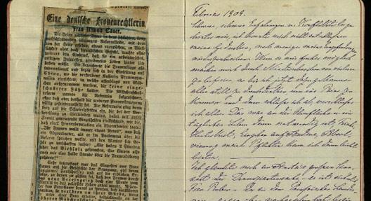 Minna Cauer Erinnerungen, Tagebuch 1907-1911. Bildnachweis FrauenMediaTurm, Köln, Teilnachlass Minna Cauer.