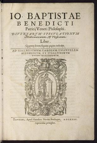 Titelseite der Erstausgabe von Giovanni Battista Benedettis Diversarum speculationum mathematicarum et physicarum liber (1585)