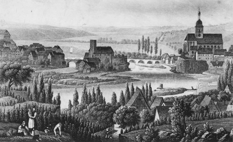 Lithographie von Altlauffen am Neckar Bild - Fotograf: Unbekannt (1830)