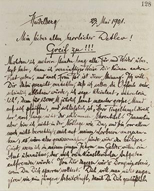 Richard Dehmel: Brief an Detlev von Liliencron, Heidelberg, 23.5.1901