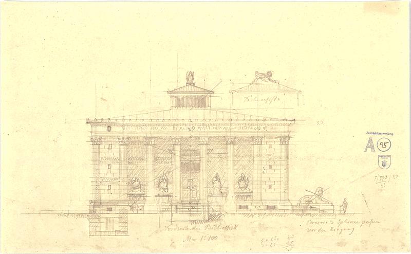 Thiersch, August; Serapeum von Alexandria - Bibliothek Nordseite (Ansicht), Architekturmuseum der TU München (CC BY-NC-ND 4.0 International)