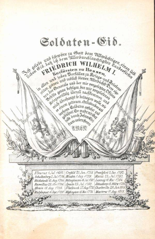 """""""1. Infanterie-Regiment, genannt Kurfürst: Leitfaden für den theoretischen Unterricht der Mannschaft"""" (Hanau, 1855), Hochschul- und Landesbibliothek Fulda (CC BY-NC-ND 4.0 International)"""