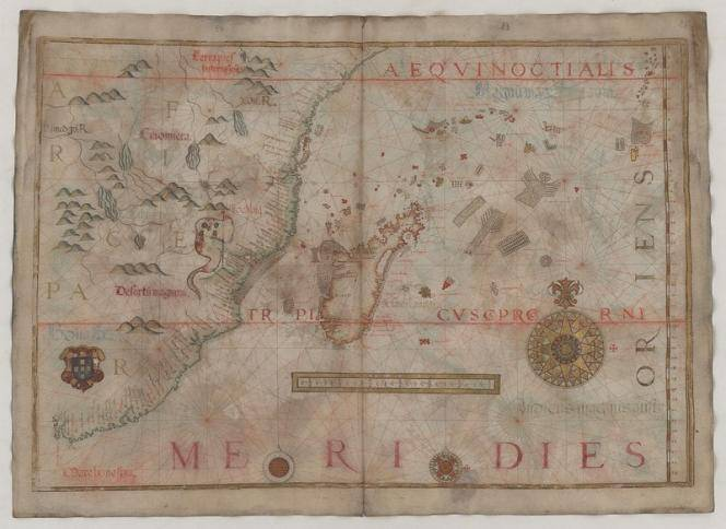 Sea chart, drawn by hand, 1568, page 26, Indian Ocean, the Mozambique Channel, Africa (south-eastern section). Madagascar, the Seychelles, image: Schumacher, Klaus-Dieter (photograph); Homem, Diogo (1568), Deutsche Fotothek
