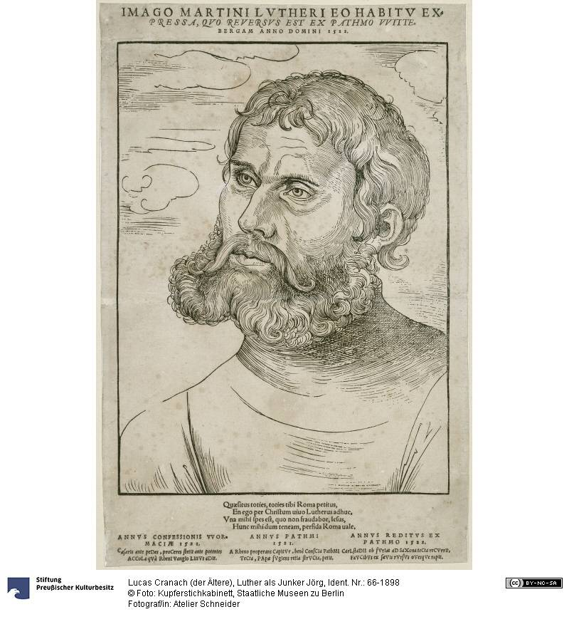 """Luther as Junker Jörg"", Engraver: Cranach, Lucas (the Elder) (1522), Photo: Atelier Schneider, Museum of Prints and Drawings, National Museums in Berlin (CC BY-NC-SA 3.0 Germany)"