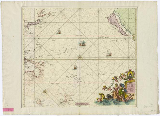 Sea chart of the Pacific Ocean with California as an island, approx. 1:21 500 000, copperplate, 1715, image: Renard, Louis (1715) Deutsche Fotothek