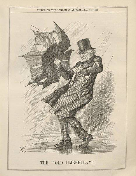 """Punch: The ""old umbrella""!!"" (London, um 1886), Universitätsbibliothek Heidelberg (CC BY-SA 4.0 International)"
