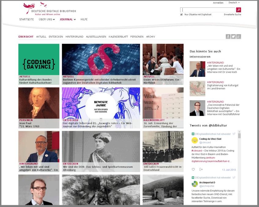 Die redaktionellen Angebote des alten Systems sind nun im DDBjournal zusammengeführt, mit Übersichtsseite, eigener Binnennavigation, Verschlagwortung und Archiv.