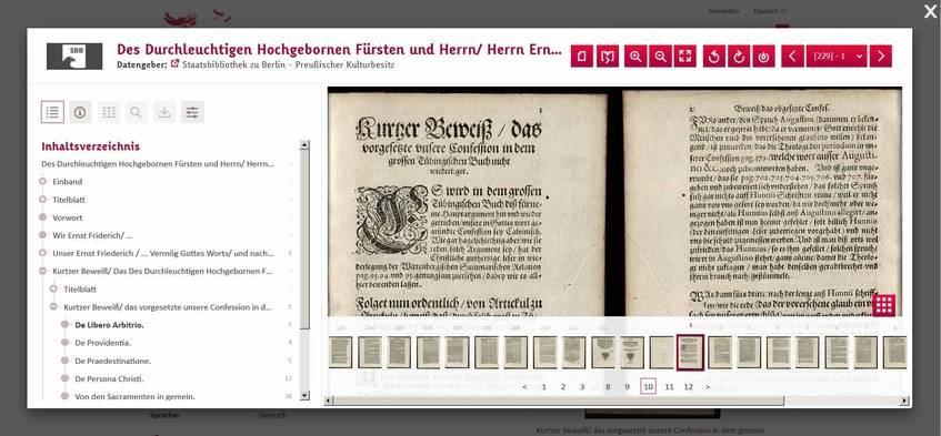 Der Viewer bietet unter anderem Miniatur- (unten) und Strukturansichten (links) sowie Funktionen zum Blättern, und zur Vergrößerung und Verkleinerung und zur Rotation der Seiten.