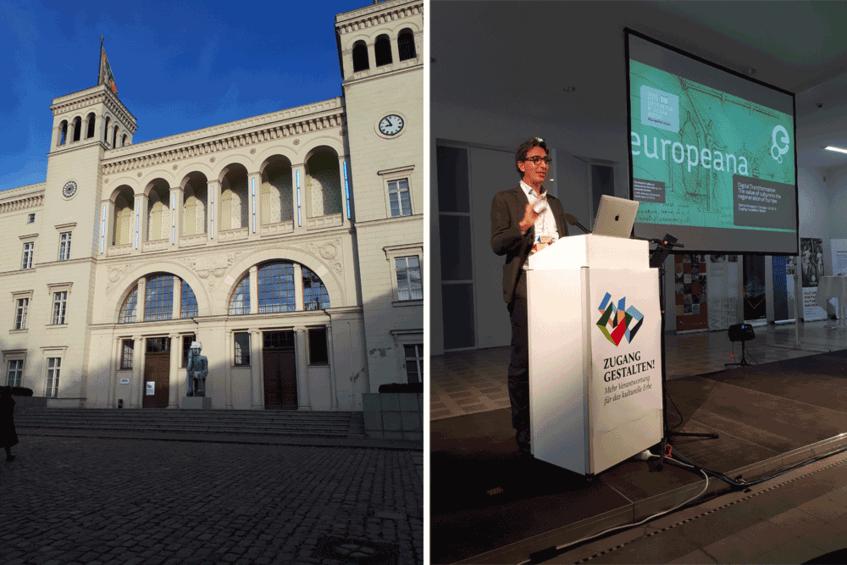 Links: Der Hamburger Bahnhof, Berlin I Rechts: Harry Verwayen, Direktor der Europeana bei seiner Keynote (Fotos: Wiebke Hauschildt, Deutsche Digitale Bibliothek)