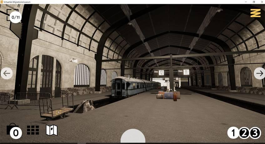 Screenshot der Bahnhofshalle in der Zeitepoche 1, 1945-1973, Virtuelles Migraitonsmuseum, DOMiD-Archiv