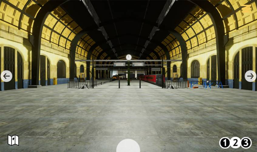 Screenshot der Bahnhofshalle in der Zeitepoche 2, 1973-1989, Virtuelles Migrationsmuseum, DOMiD-Archiv