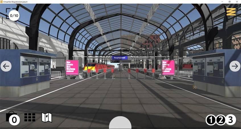 Screenshot der Bahnhofshalle in der Zeitepoche 3, 1989 - heute, Virtuelles Migrationsmuseum, DOMiD-Archiv