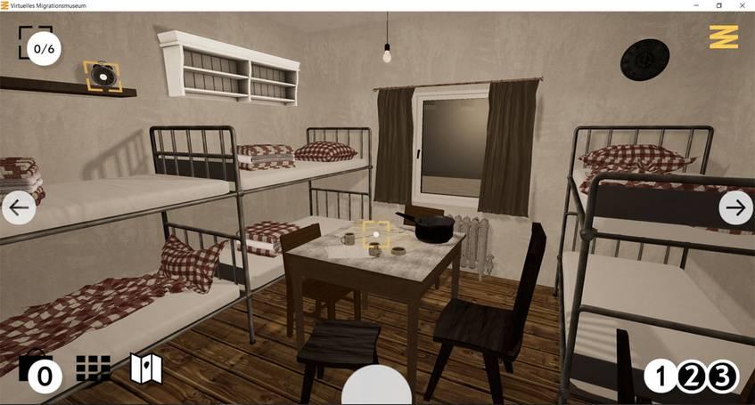 Screenshot des Wohnheim-Zimmers in der Zeitepoche 1, Virtuelles Migrationsmuseum, DOMiD-Archiv