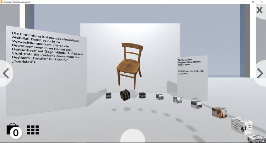 Screenshot einer Vitrine im Virtuellen Migrationsmuseum, DOMiD-Archiv