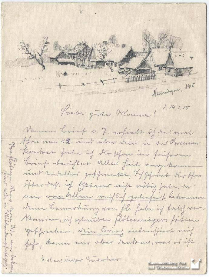 Max Lehmann to his wife on 14.01.1915 (3.2002.9042), Museumsstiftung Post und Telekommunikation