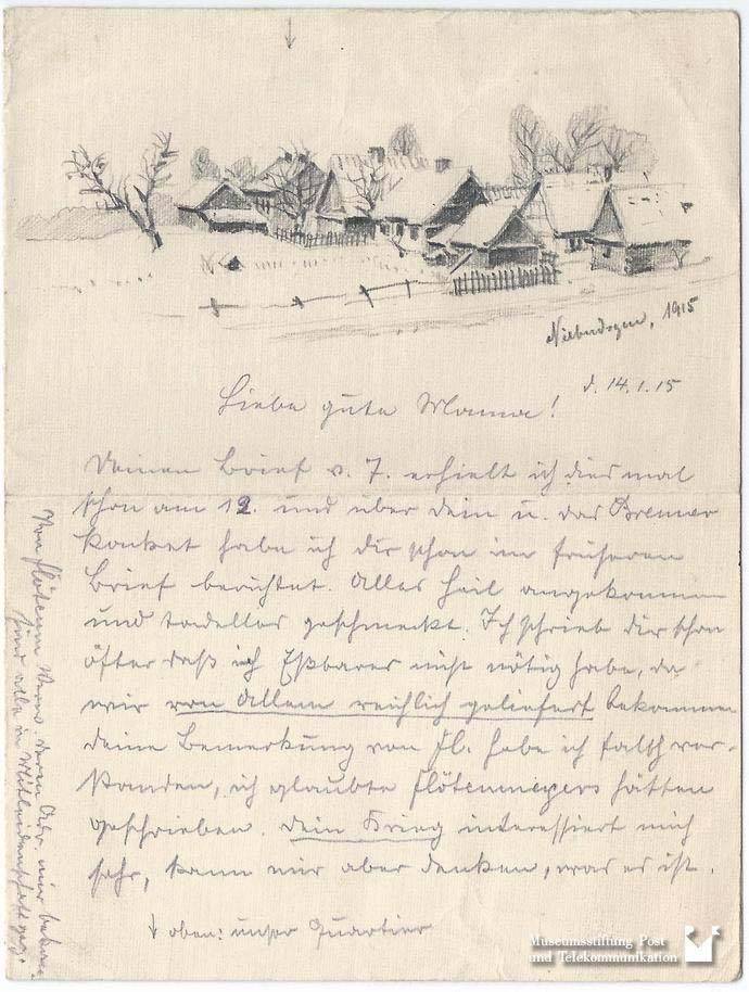 Max Lehmann an seine Ehefrau am 14.01.1915 (3.2002.9042), Museumsstiftung Post und Telekommunikation