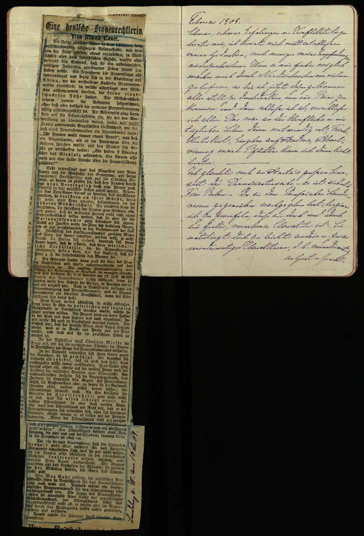 Minna Cauer memories, diary 1907-1911. Photo credit FrauenMediaTurm,Cologne, part of the estate of Minna Cauer.