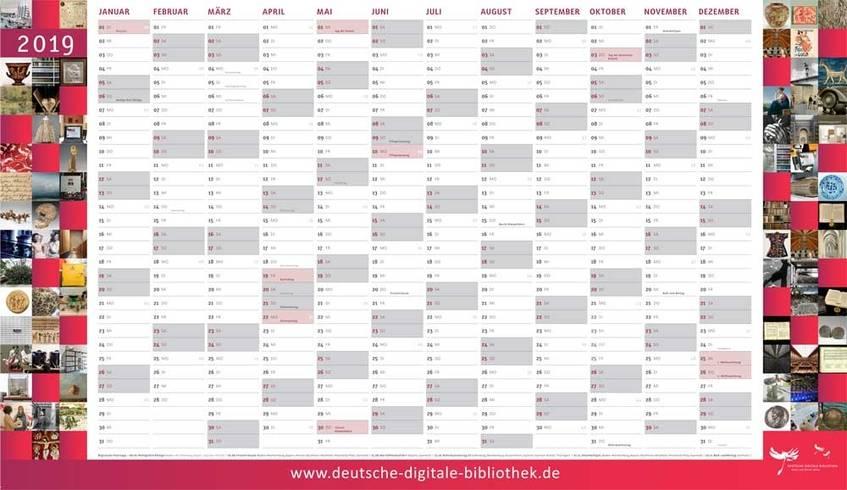 Wandkalender 2019 der Deutschen Digitalen Bibliothek