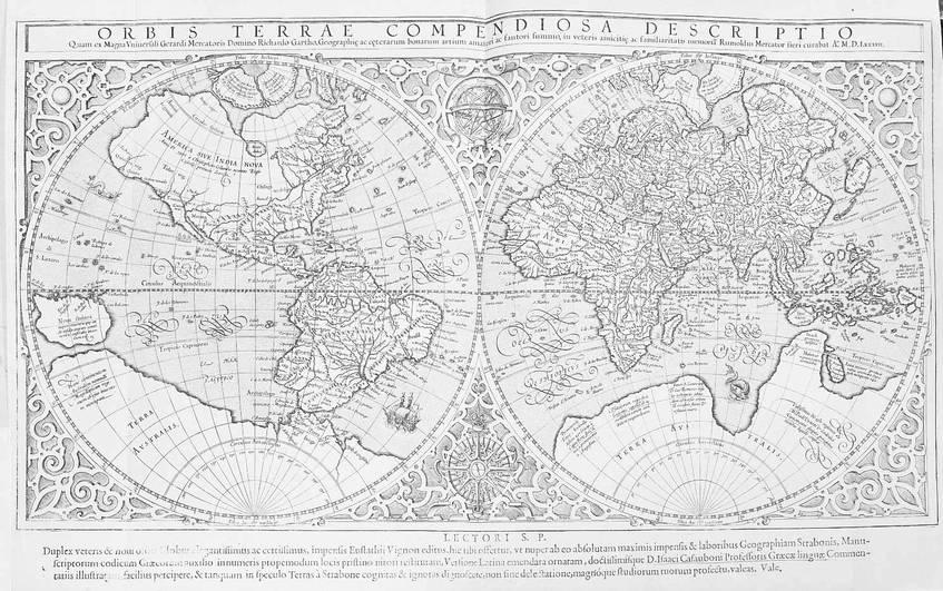 """""""Orbis terrae compendiosa descriptio"""": Weltkarte mit hypothetischem Südkontinent (1587), Rumold Mercator, SLUB / Deutsche Fotothek (CC BY-SA 4.0 International)"""