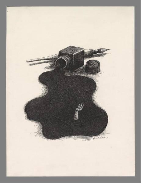 """""""Ohne Titel (aus Tinte ragender Arm)"""" (1992), Künstler: Klaus Vonderwerth, Staatliche Bücher- und Kupferstichsammlung Greiz (CC BY-SA 4.0 International)"""
