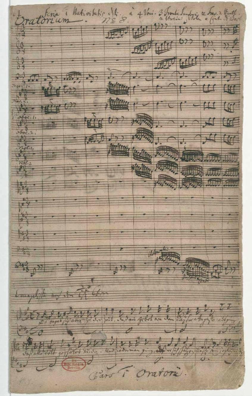 """""""Weihnachts-Oratorium; V (4), Coro, orch; BWV 248"""" (1734), Komponist: Johann Sebastian Bach, Staatsbibliothek zu Berlin – Preußischer Kulturbesitz (CC BY-NC-SA 3.0 Deutschland)"""
