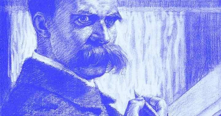 """Ausschnitt aus """"Der Unzeitgemäße"""" Friedrich Nietzsche (1844-1900), Karl Bauer, Lithographie, Klassik Stiftung Weimar"""