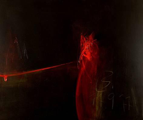"""""""Keim"""" (1977), Peter Schnatz, Mischtechnik auf Leinwand, 90 x 100 cm, WV PSCH_0133. Foto: H. - J. Schröder, aus der Sammlung der Künstlernachlässe Mannheim"""