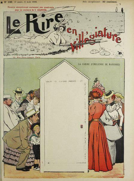 "Frankreich vor dem Bikini: ""La cabine d'Émilienne de Marennes"" (1898), Karikatur von Henry Gerbault, Paris, Universität Heidelberg (CC BY-SA 4.0 International)"