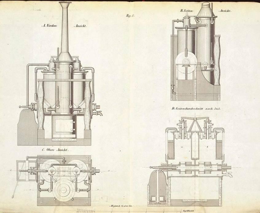 Patent des Ingenieurs Wilhelm Heinrich Christian Voß in Stuttgart auf eine Rotations-Dampfmaschine, 1860 (Landesarchiv Baden-Württemberg, Abt. Staatsarchiv Ludwigsburg E 170 a Bü 299, Bild 2, http://www.landesarchiv-bw.de/plink/?f=2-316370-2)