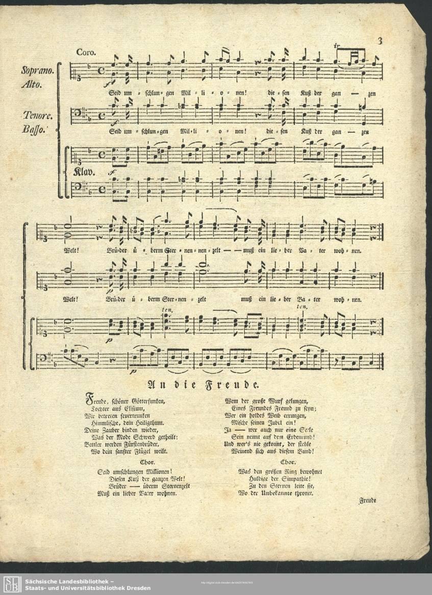 """""""Friedrich Schillers Ode an die Freude"""", Leipzig, 1786, Sächsische Landesbibliothek - Staats- und Universitätsbibliothek Dresden (Public Domain Mark 1.0)"""