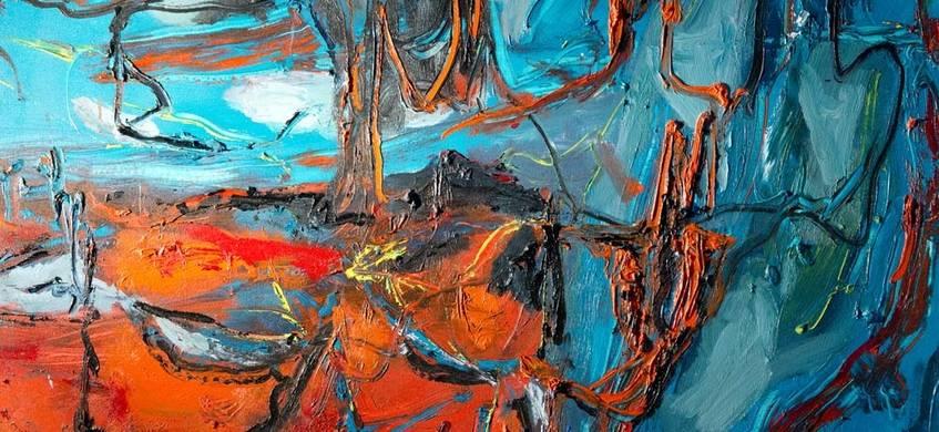 o. T., 2001. Öl auf Leinwand, 100 x 100 cm. Foto: H. - J. Schröder
