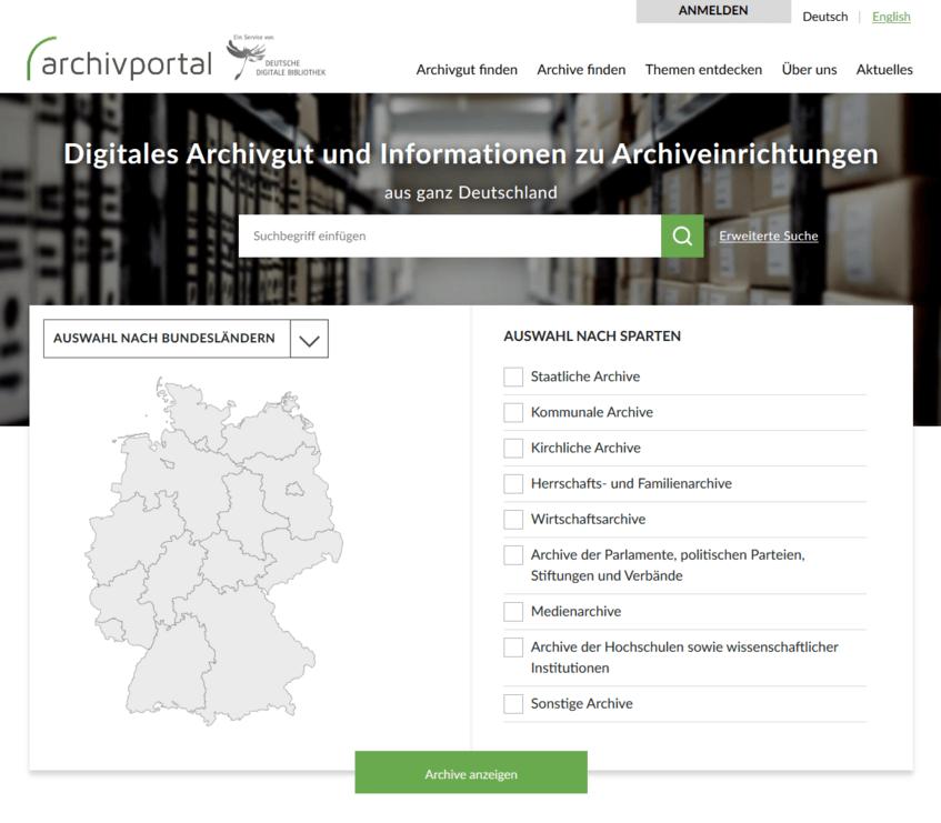 Die neue Startseite des Archivportals-D