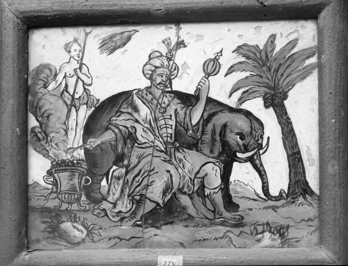 """Dieser unbekannte Maler scheint bei den Proportionen des Elefanten etwas herausgefordert: """"Gemälde mit zwei Menschen und einem Elefant"""" Landesarchiv Baden-Württemberg, Abt. Generallandesarchiv Karlsruhe, 498-1 Glasnegative Wilhelm Kratt (1869-1949) - Landesamt für Denkmalpflege, Außenstelle Karlsruhe (CC BY 3.0 Deutschland)"""