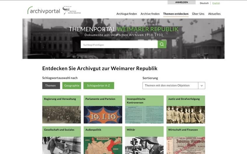 """Die Startseite des Themenportals """"Weimarer Republik"""" im Archivportal-D"""