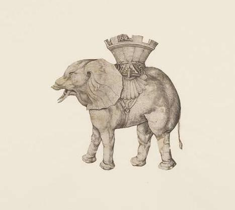 """Sieht soweit gut aus bis auf das Fehlen des Rüssels: """"Elefant, eine Sänfte tragend"""", Kupferstich (1483-1491), Martin Schongauer, Herzog Anton Ulrich-Museum Braunschweig (CC BY-NC-SA 4.0 International)"""