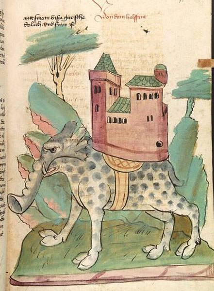 """Megenbergs Darstellung des Elefanten in seinem """"Buch der Natur"""": """"Der Elefant"""" (um 1442-1448), Conradus de Megenberg, Universitätsbibliothek Heidelberg (Public Domain Mark 1.0)"""