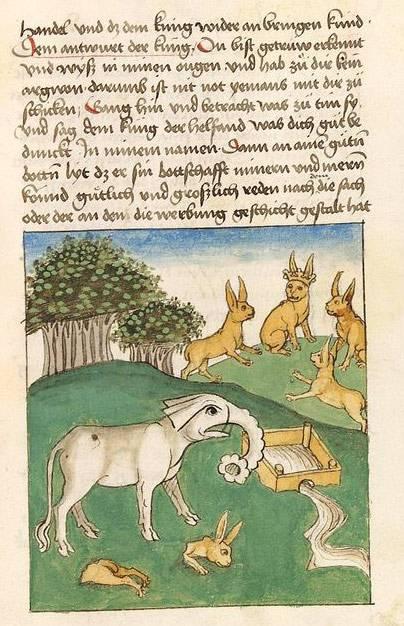 """Anatomisch völlig daneben: """"Die Versammlung der Hasen und der Elefant am Brunnen"""" (um 1471 – 1477), Antonius von Pforr, Universitätsbibliothek Heidelberg (Public Domain Mark 1.0)"""