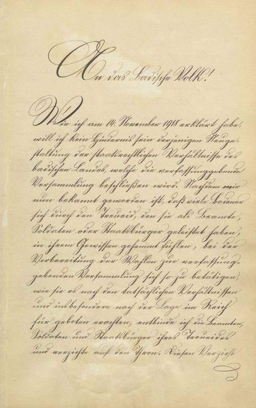 Urkunde über den Thronverzicht Seiner Königlichen Hoheit des Großherzogs Friedrich und Seiner Großherzoglichen Hoheit des Prinzen Max von Baden (Landesarchiv BW, GLAK, 230 Nr. 154).