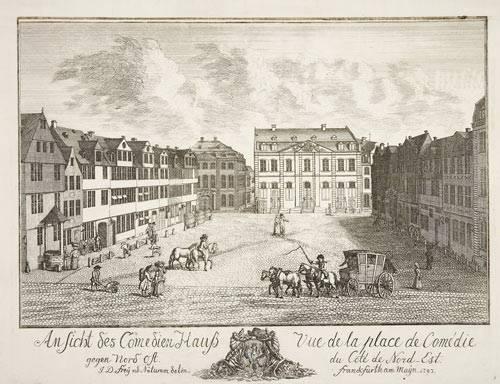 Joh. Daniel Frey: Ansicht des Comödienhauß gegen Nord Ost, Kupferstich, Frankfurt 1793 (Historisches Museum Frankfurt, Foto: Horst Ziegenfusz C02960)
