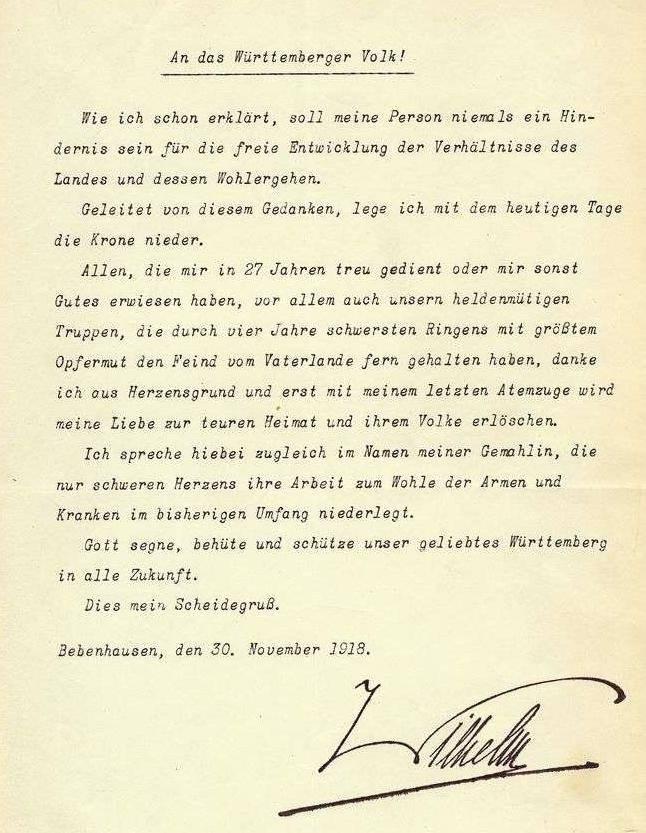 Abdankungserklärung Wilhelms II. von Württemberg, 30. November 1918 (Landesarchiv BW, HStAS M 743/1 Bü 1 Nr. 10).