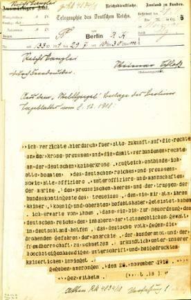 """Telegramm der Reichskanzlei vom 29. Juli 1919 mit dem Text der Abdankungserklärung Kaiser Wilhelms II. vom 28. November 1918, veröffentlicht im """"Weltspiegel"""", einer Beilage des Berliner Tageblattes vom 8. Dezember 1918 (BArch, R 43 I/ 2204)"""