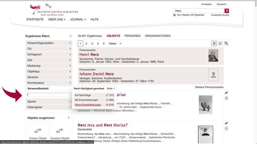Screenshot DDB-Filter