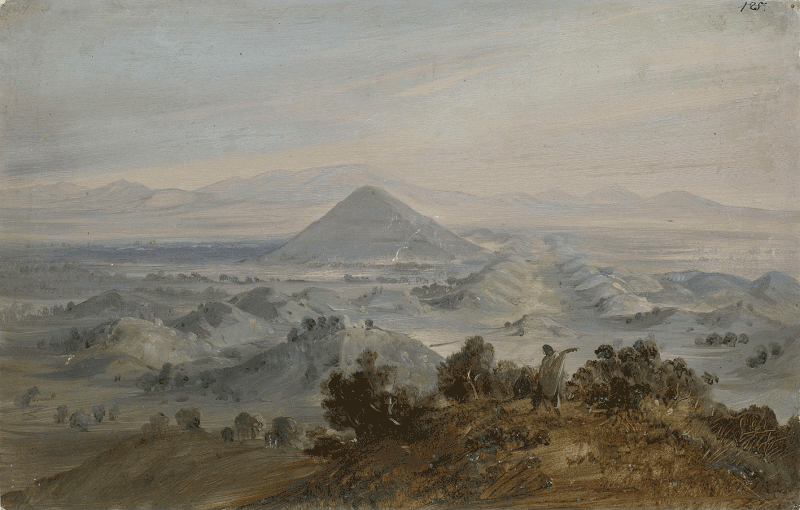 """Ölstudie: """"Blick auf die Sonnenpyramide von San Juan Teotihuacan"""""""