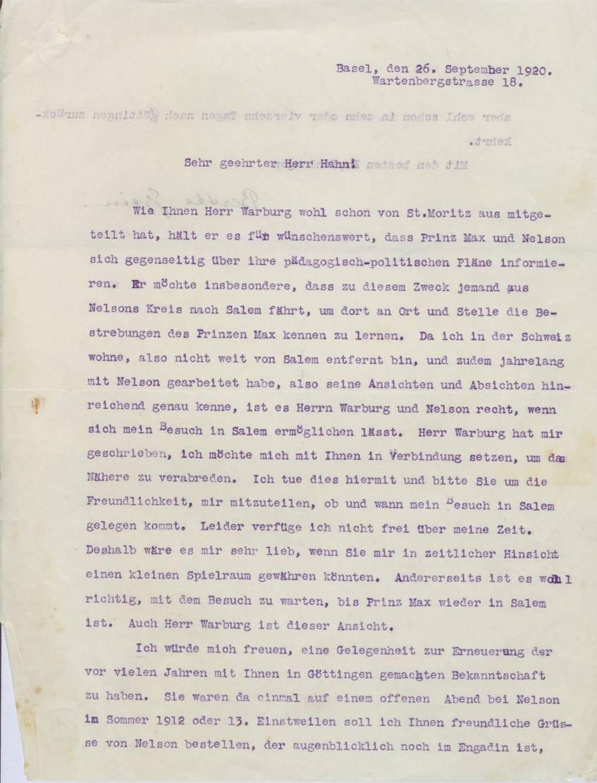 Durschlag eines Schreibens von Bertha Sindler-Gysin an Kurt Hahn