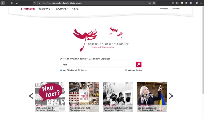 Screenshot Startseite