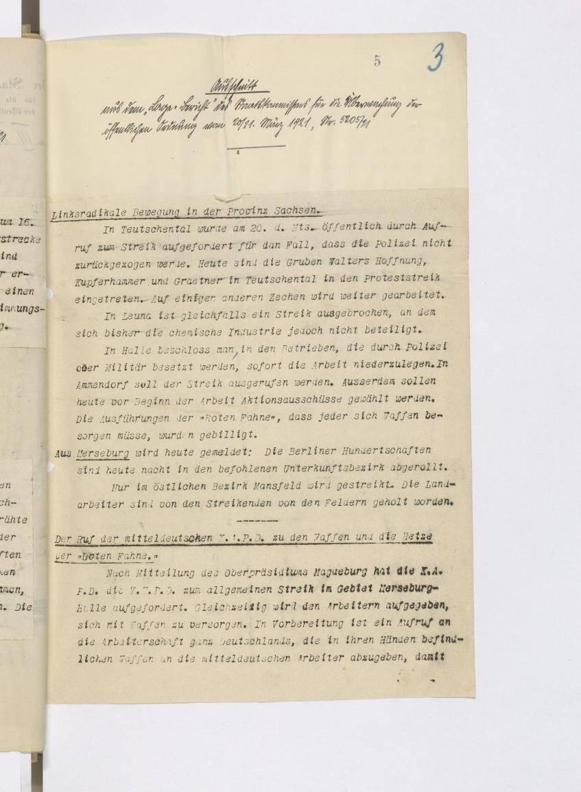 """Ausschnitt aus dem """"Lage-Bericht"""" des Reichskommissars für die Überwachung der öffentlichen Ordnung"""