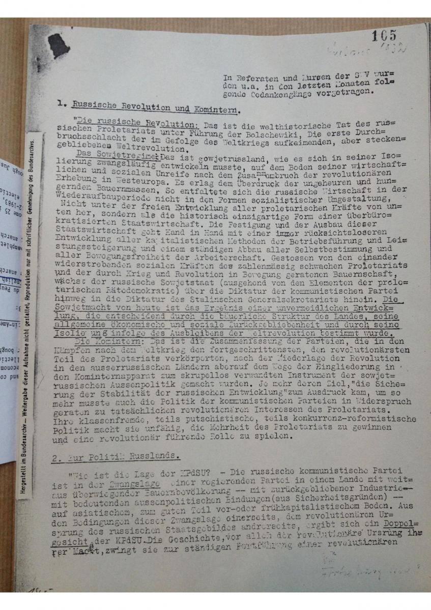 Digitalisat eines Diskussionspapiers der SWV aus dem IISH Amsterdam