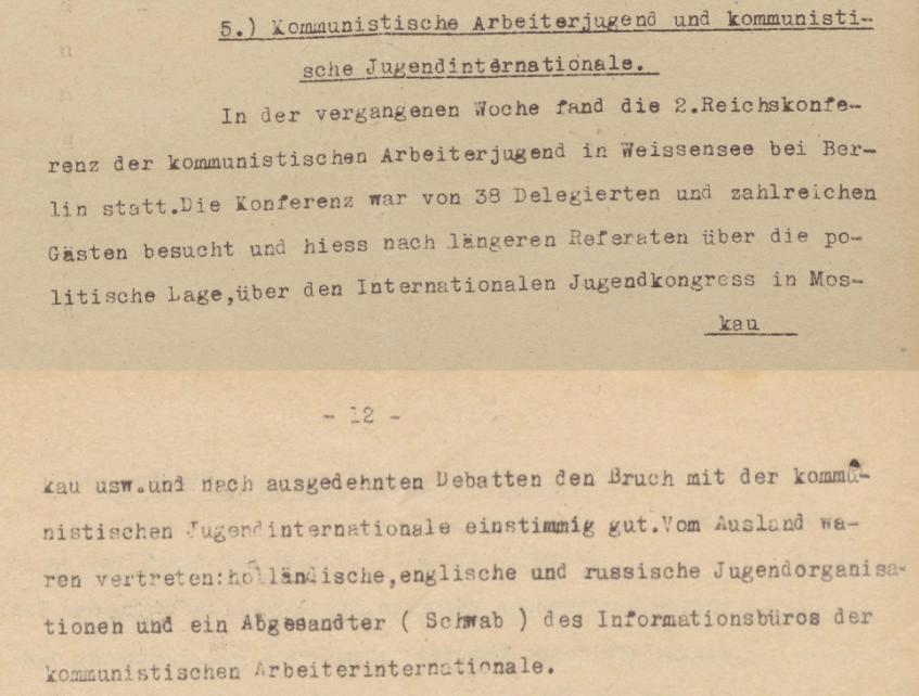 Lageberichte des Reichskommissars für Überwachung der öffentliche Ordnung
