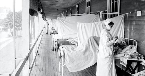 Patient im Walter-Reed-Krankenhaus während der Spanischen Grippe, um 1918.